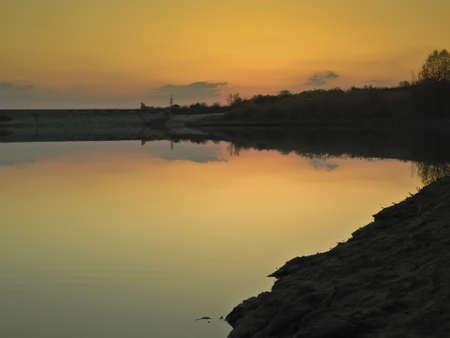 sunset on the lake Stock Photo - 17190136