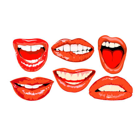 plump lips: Lips set.Image for design projects and advertising and decoration Illustration