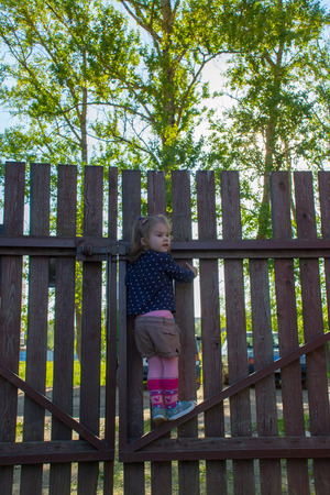 4 years old: 4 years old girl climbed on the fence