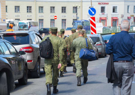 move in: Russia Saint Petersburg July 2016 soldiers systems move in the city