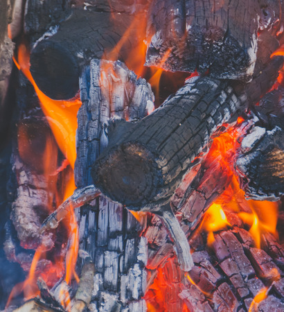 ravage: bonfire closeup where you can see a bright fire and coals Stock Photo