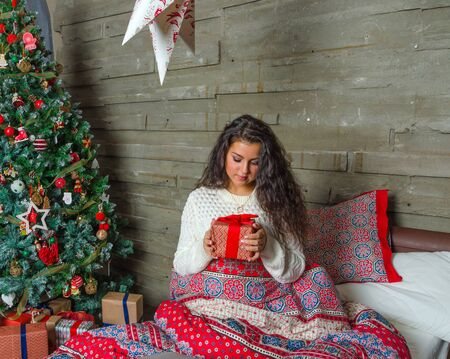 night before christmas: the night before Christmas beautiful girl in white sweater.