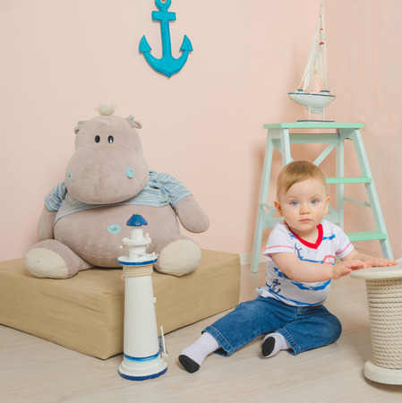 the child plays in the childrens sea room, closeup.