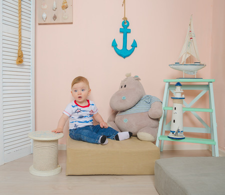 the child plays in the childrens sea room.