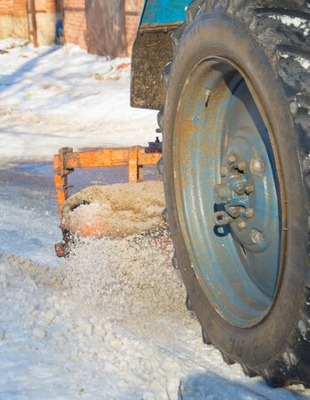 brush special equipment cleans the snow from the road. Stock Photo