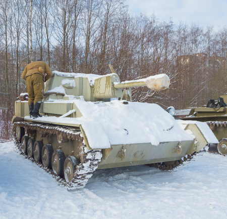 tank su-76 is a soldier tanker. Editorial