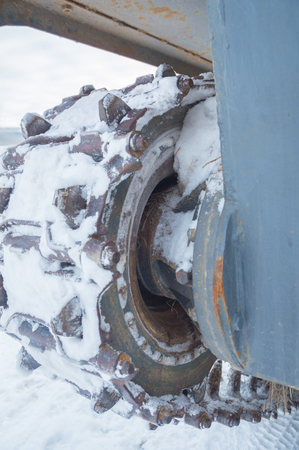 truck and  tank winter closeup.