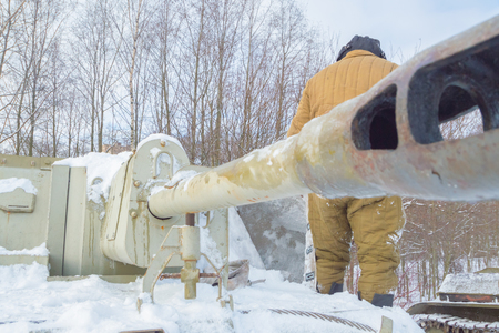fighter loader clears snow tank su-76.