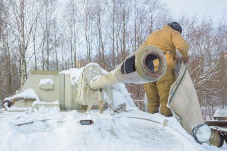 the driver of the tanker near the tank gun su-76. Editorial