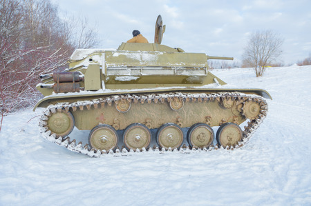 in winter, t-70 of the second world war, with a tilted lid.