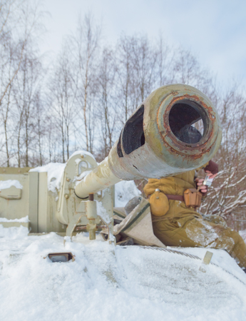 tank su-76 tank soldiers near the gun.
