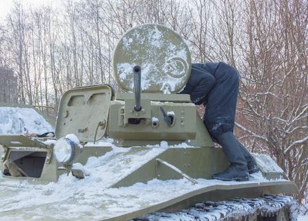 tank t-60 crew, prepare the tower machine gun. Editorial
