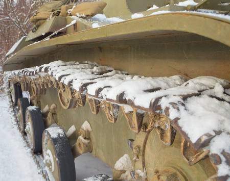 in winter the snow trucks and wheels of the tank of the second world war.