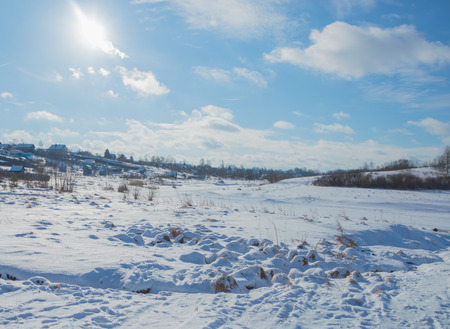 frozen river in winter on a Sunny day.