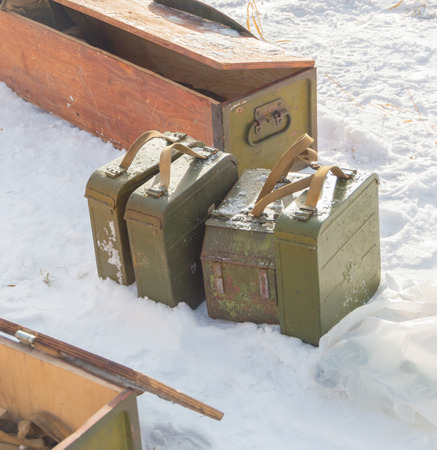 tripod mounted: in winter the snow are the boxes with machine-gun tape for Maxim, closeup.