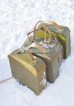 tripod mounted: closeup of box tape gun Maxim in the snow. Stock Photo