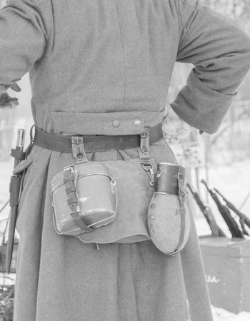 from the back uniforms of the German soldier in winter ,black and white. Stock Photo