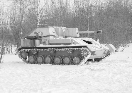 self-propelled artillery gun from world war II,black and white. Stock Photo