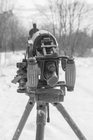 black and white, the back of a heavy machine gun of world war II. Stock Photo