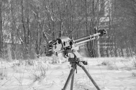 black and white, a heavy machine gun of world war II.