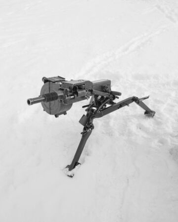 black and white, Russian grenade launcher on the frame.