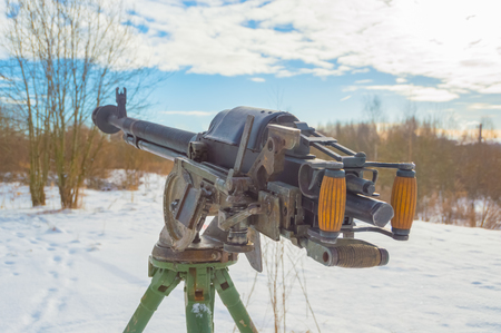 the snow is Russian heavy machine gun. Stock Photo