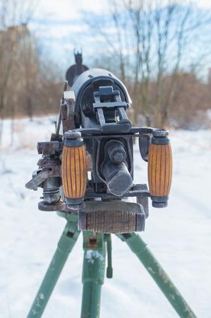 in the sky stared Russian heavy machine gun. Stock Photo - 74606954