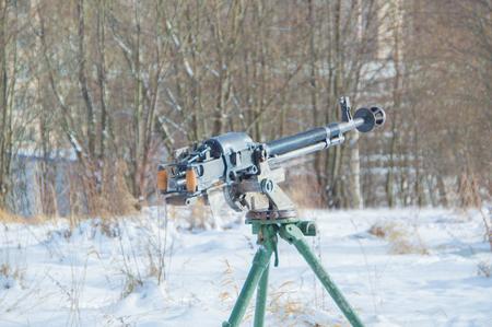 winter on the Russian tripod-mounted heavy machine gun. Stock Photo