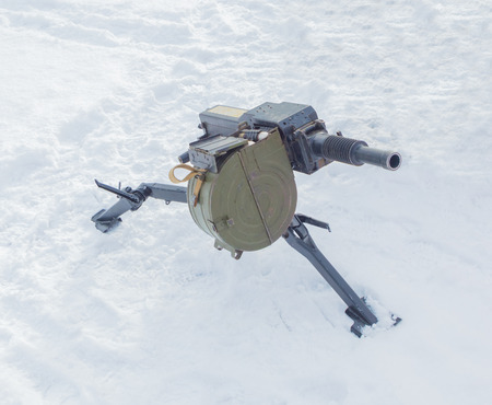 Russian heavy grenade launcher in winter.