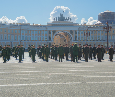 Russia, Saint-Petersburg, 28 April 2017 - rehearsal of the victory parade on Palace square.
