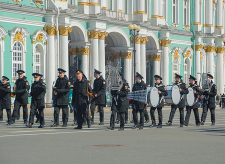 Russia, Saint-Petersburg, 28 April 2017 - rehearsal of the victory parade at the Hermitage. Editorial