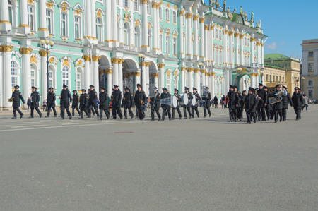 Russia, Saint-Petersburg, 28 April 2017 - rehearsal of the military brass band on the background of the Hermitage. Editorial