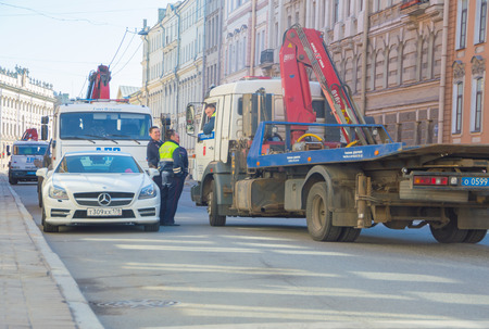 Russia, Saint-Petersburg, 3 may 2017 - the police evacuated the car.