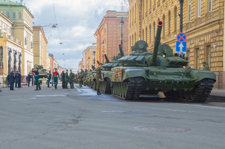 Russia, Saint-Petersburg, on may 7, 2017 - tanks and soldiers on Millionnaya street at the rehearsal of the victory parade.