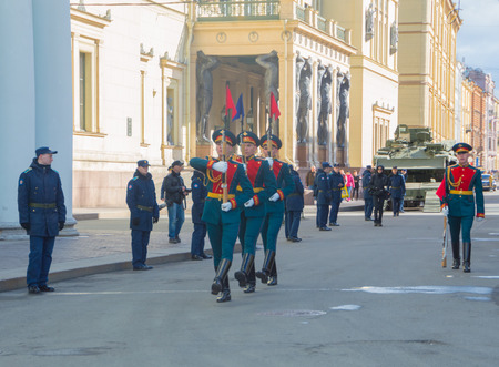 Russia, Saint-Petersburg, on may 7, 2017 - guard on Millionnaya street at the rehearsal of the victory parade.