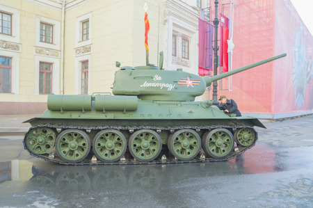 Russia, Saint-Petersburg, on may 7, 2017 - t-34 tank at the Hermitage at the rehearsal of the victory parade. Editorial