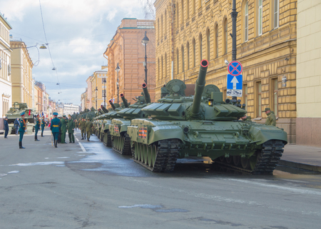 Russia, Saint-Petersburg, on may 7, 2017 - guard and armor of the victory parade rehearsal.