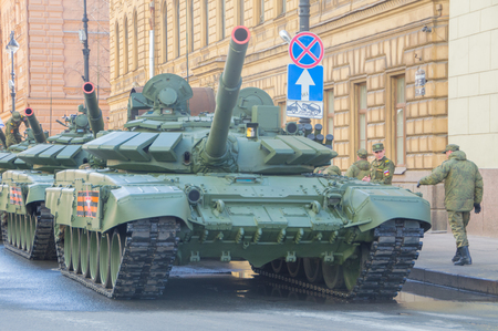 Russia, Saint-Petersburg, on may 7, 2017 - armored vehicles, victory parade rehearsal. Editorial