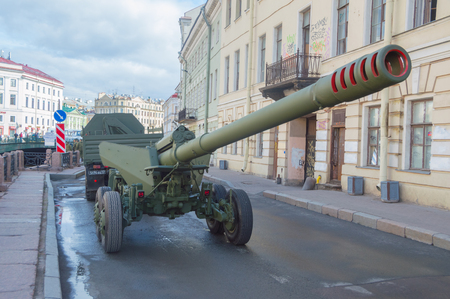 Russia, St. Petersburg, 7 may 2017, the rehearsal of the victory parade - a convoy of vehicles with guns on the waterfront. Editorial