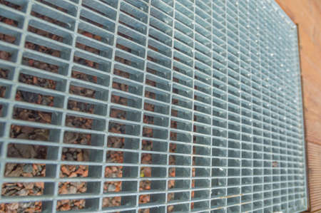 background, steel grating, texture, closeup. Stock Photo