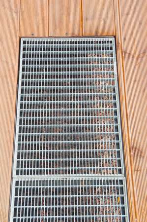 wooden floor grating for water drainage. Stock Photo