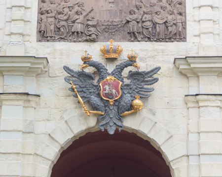 Russia, Saint-Petersburg, 12 June 2017 - Imperial eagle above the arch of the Bastion fortress.