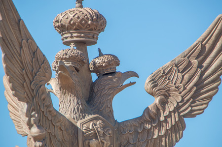 Russia, Saint-Petersburg, 12 June 2017 - eagle of the Romanov Empire at the General staff building.