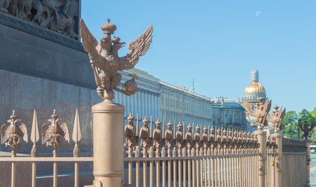 Russia, Saint-Petersburg, 12 June 2017 - eagle of the Romanov Empire in Palace square.