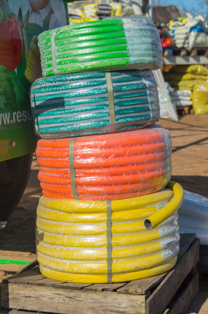 Russia, Nikolskoye, 3 may 2017 - for sale garden hose. Editorial