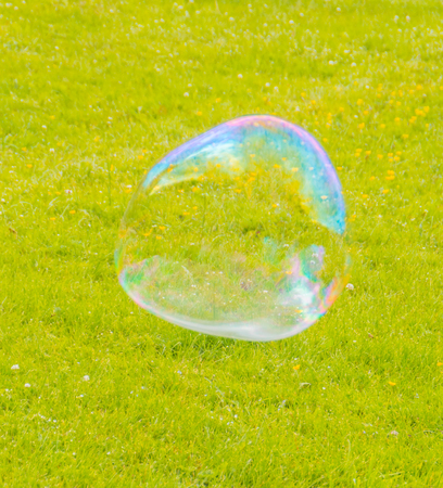 big bubble flies over the field. Stock Photo