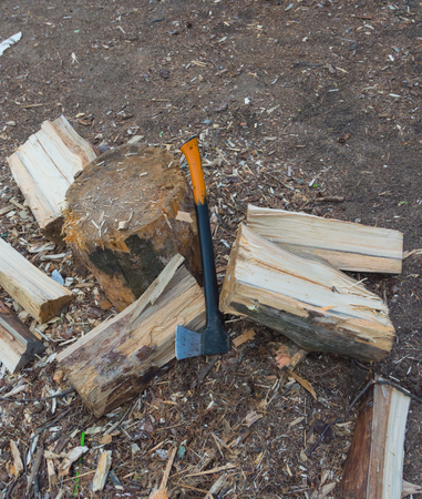 axe for chopping firewood in the forest.