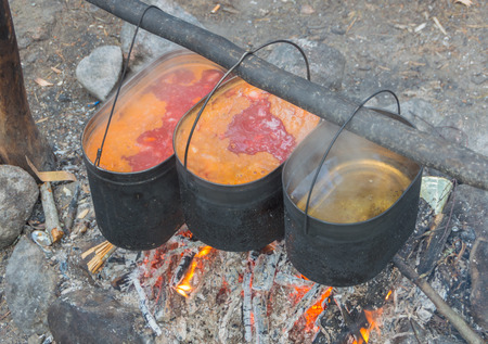 travel kettles of food over the fire. Фото со стока