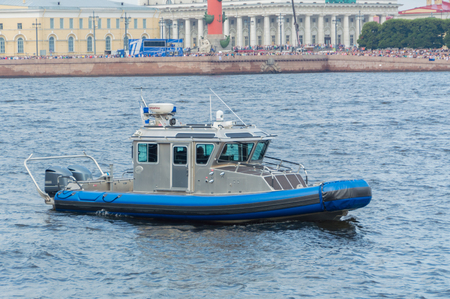 Russia, Saint-Petersburg, July 30, 2017 - police boat in the waters of the Neva.