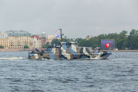 Russia, Saint-Petersburg, July 30, 2017 in the waters of the Neva anti-sabotage boat Nahimovets. Editorial